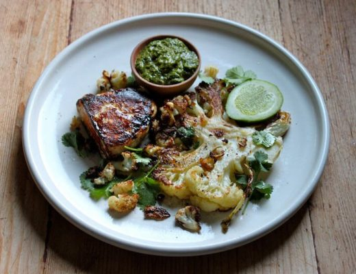 Sophie Zalokar Recipe for Roasted Cauliflower Haloumi Lime Green Harissa