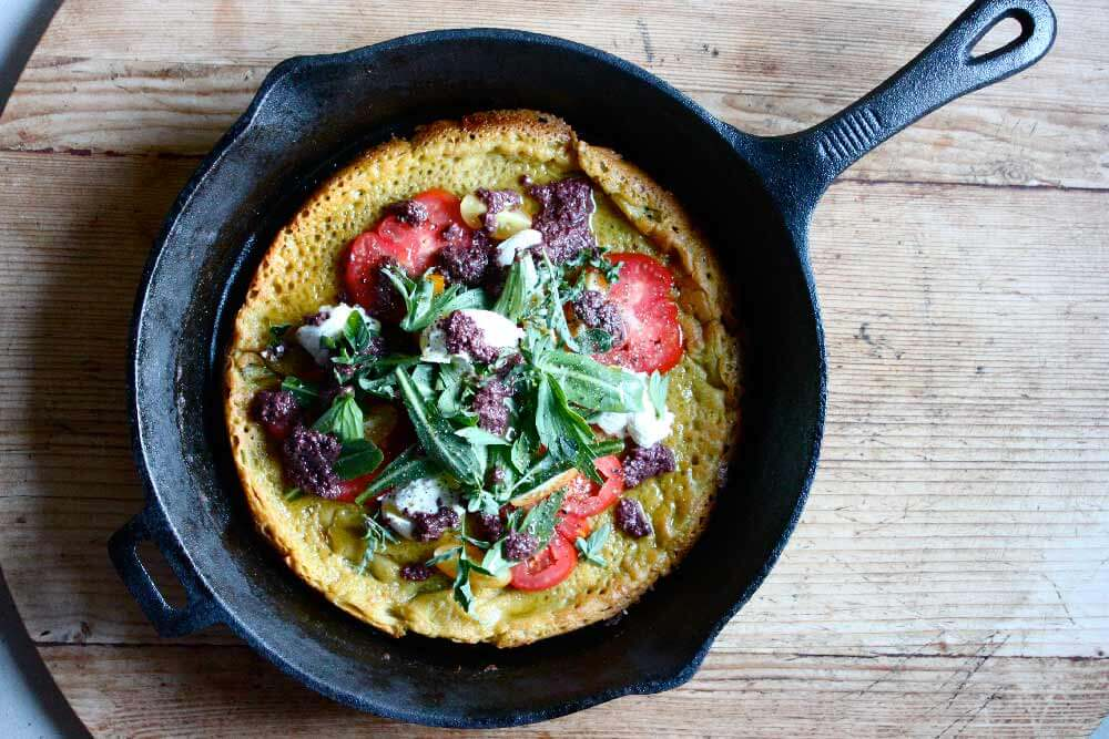 Sophie Zalokar Recipe for Crisp Spcca with Labna Heirloom Tomatoes Herbs Olive Dressing