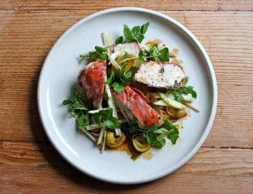Sophie Zalokar Recipe for Prosciutto-Wrapped Chicken with Leek Apple Watercress