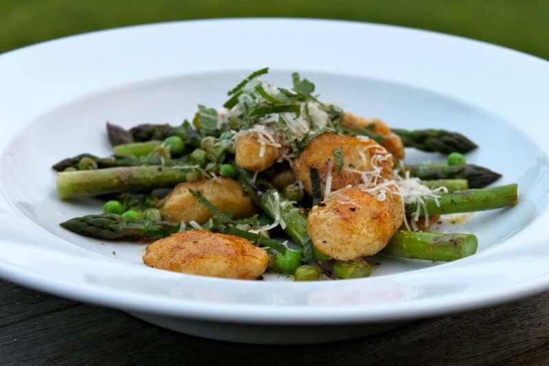Ricotta Gnocchi with Asparagus Peas and Mint Image