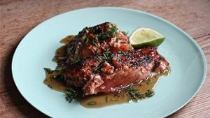 Sesame, honey, ginger and soy grilled salmon with lime recipe
